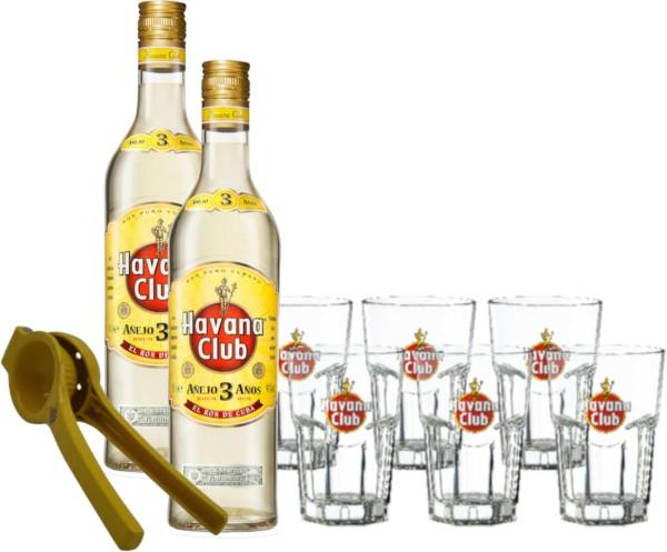 2xHavana Club 3 Jahre mit 6 Gläsern & Limettenpresse