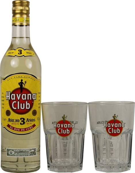 Havana Club 3 Jahre 0,7 Liter mit 2 Cocktailgläsern