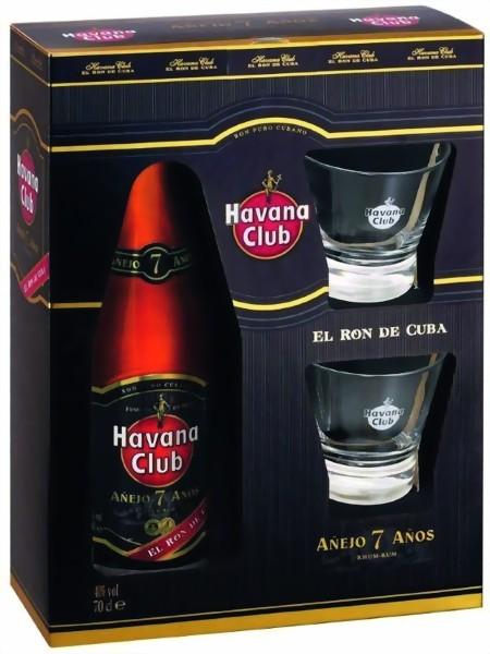 Havana Club 7 Anos in Geschenkpackung mit 2 Gläsern