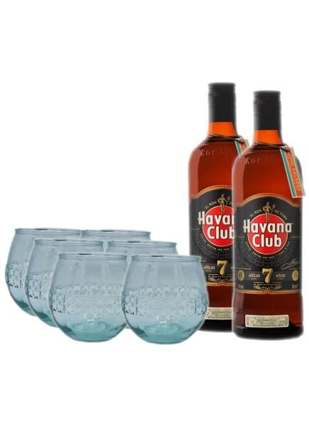 Havana Club 7 Jahre 2x 0,7 Liter mit 6x Havana Tumbler