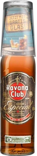 Havana Club Rum Especial 0,7 l mit Glas