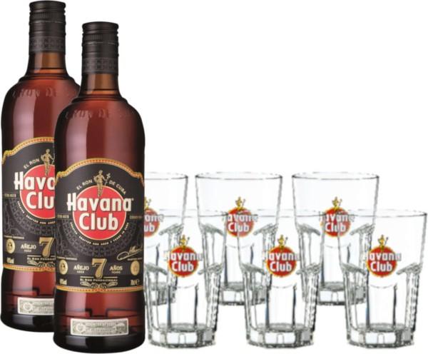 2x Havana Club 7 Jahre 0,7l mit 6 Gläsern